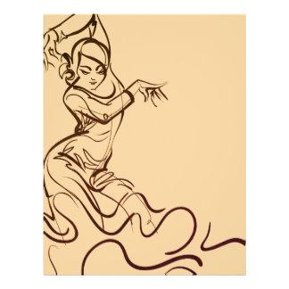 Flyer Bosquejos del bailarín del flamenco