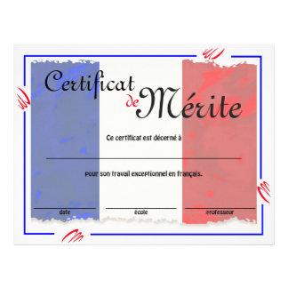 Flyer Certificado genérico de la clase francesa