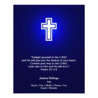 Flyer Cruz cristiana en fondo de los azules marinos