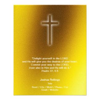 Flyer Cruz cristiana en fondo del oro