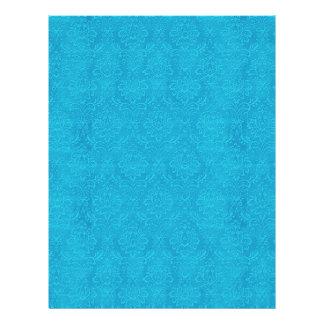 Flyer Damasco grabado en relieve azules turquesas DIY V1