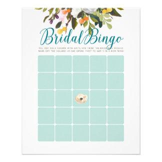 Flyer El bingo nupcial floral de la ducha carda el azul
