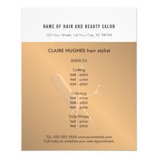 Flyer El falso oro blanco elegante Scissors el salón de