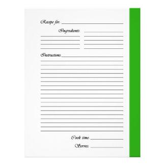 Flyer El verde 2 echó a un lado las páginas de la receta