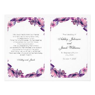 Flyer Flores que casan programa. Ceremonia púrpura de la