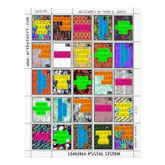 Flyer Franqueo del arte del correo de los sellos de la