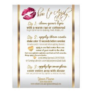 Flyer Instrucciones 2 del labio del brillo de las rosas