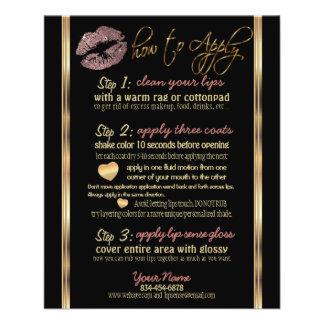 Flyer Instrucciones color de rosa polvorientas del labio