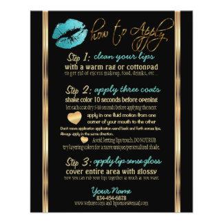 Flyer Instrucciones del labio del brillo del trullo