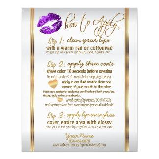 Flyer Instrucciones púrpuras 2 del labio del brillo