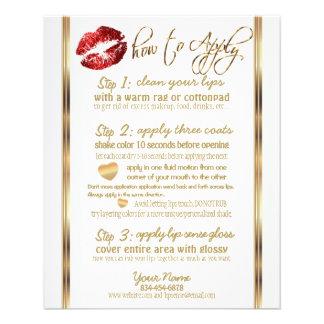 Flyer Instrucciones rojas 2 del labio del purpurina