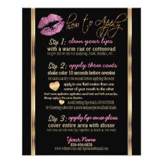 Flyer Instrucciones tan rosadas del labio del brillo