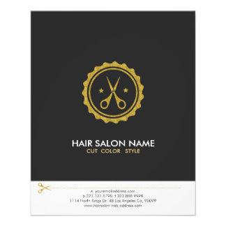 Flyer Logotipo del Hairstylist de las tijeras del blanco