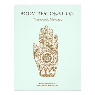 Flyer Mano Lotus de la alheña del terapeuta del masaje