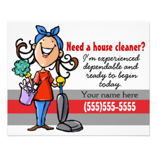 Flyer ¿Necesite un Housecleaner? Aviador de encargo del