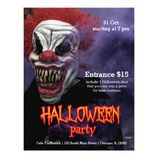 Flyer Payaso asustadizo de Halloween