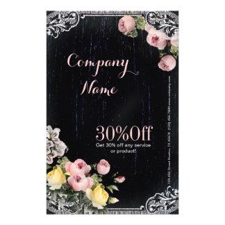 Flyer Pizarra floral botánica del vintage elegante