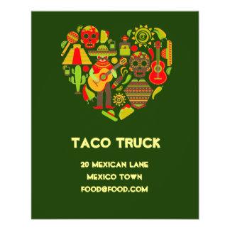 Flyer Restaurante mexicano de la comida del camión del