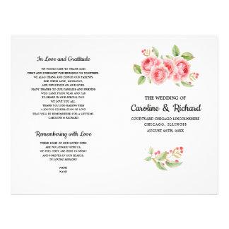Flyer Rosas románticos de la acuarela doblados casando