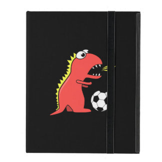 Folio divertido negro de la correa del fútbol del iPad cárcasas