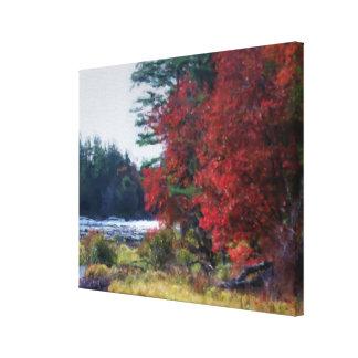 Follaje y charca del otoño del país