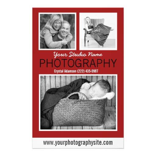 Folleto del negocio del fotógrafo con tres fotos flyer personalizado