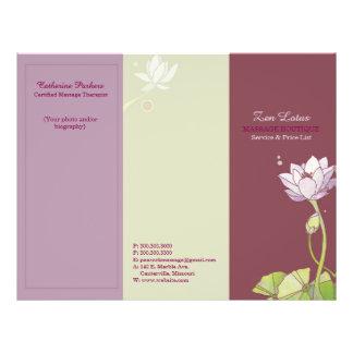 Folletos triples del negocio de Lotus del zen Folleto 21,6 X 28 Cm