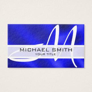 Fondo abstracto azul moderno del monograma tarjeta de negocios