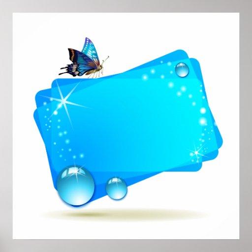 Fondo abstracto con la mariposa y los descensos, a poster