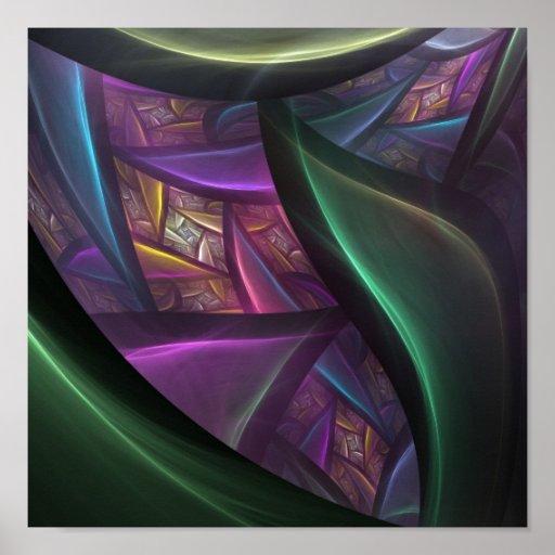 Fondo abstracto del fractal poster
