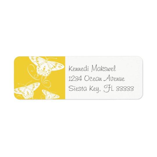 Fondo amarillo brillante de las mariposas gráficas etiqueta de remitente