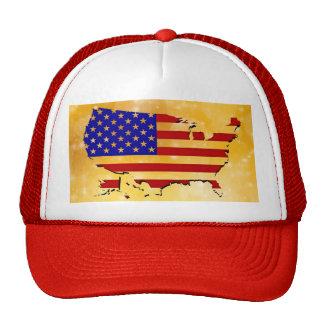 Fondo americano fresco del oro de la bandera de la gorros bordados