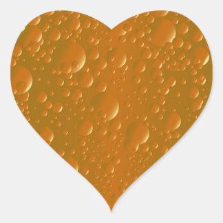 Fondo anaranjado de Bibble de la sombra Pegatina En Forma De Corazón