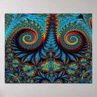 Fondo azul del giro del diseño abstracto póster