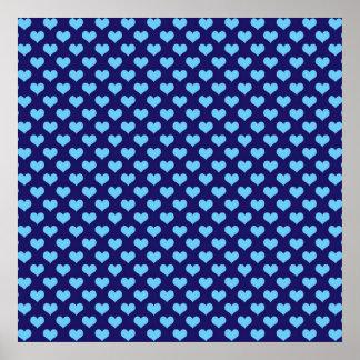 Fondo azul marino del pequeño modelo del corazón póster
