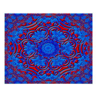 Fondo azul y rojo del modelo abstracto póster