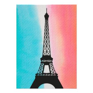 Fondo colorido de la torre Eiffel del hierro fresc