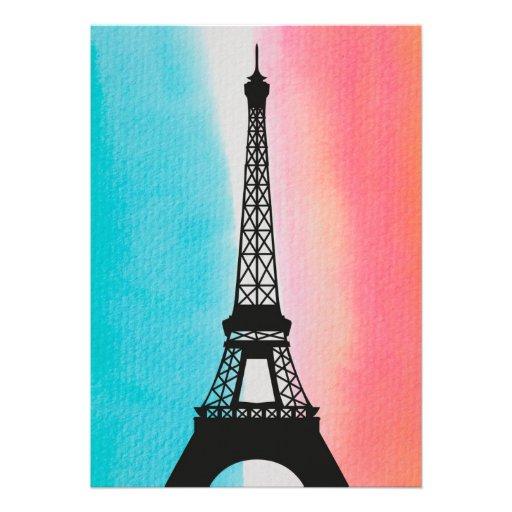 Fondo colorido de la torre Eiffel del hierro fresc Comunicado Personalizado