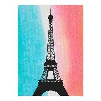 Fondo colorido de la torre Eiffel del hierro Invitación 12,7 X 17,8 Cm