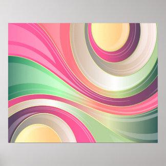 Fondo colorido de las ondas del modelo abstracto póster