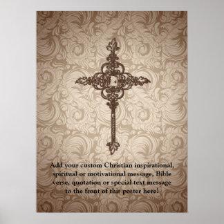 Fondo cristiano de la cruz w/Swirl de la voluta Póster