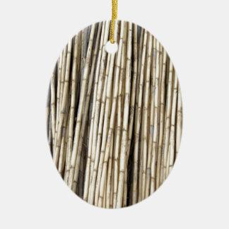 Fondo de bambú adorno ovalado de cerámica
