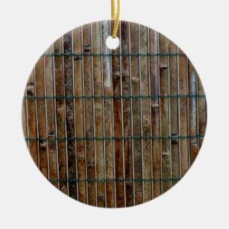 fondo de bambú de la estera adorno redondo de cerámica