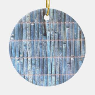 fondo de bambú del azul de la estera adorno redondo de cerámica
