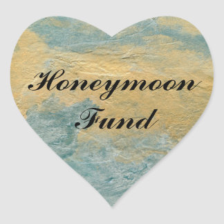 Fondo de cobre de la luna de miel de la turquesa pegatina en forma de corazón