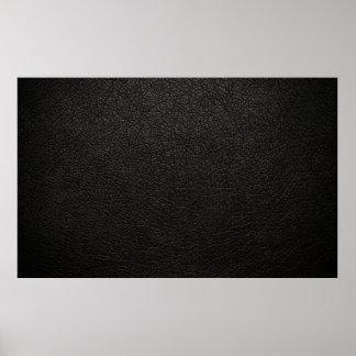 Fondo de cuero negro de la textura póster
