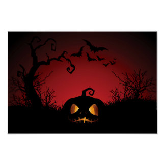 Fondo de la calabaza de Halloween Posters