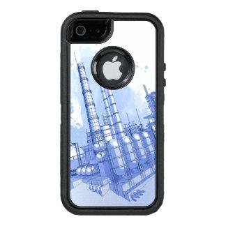 Fondo de la fábrica de productos químicos y de la funda otterbox para iPhone 5/5s/SE