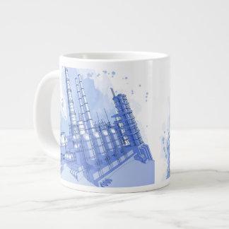 Fondo de la fábrica de productos químicos y de la taza de café grande