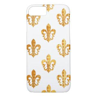 Fondo de la flor de lis /DIY del oro de PixDezines Funda iPhone 7